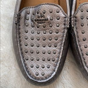 Coach Shoes - Coach Metallic Silver Orlene Studded Loafer/Driver